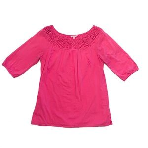 Lilly Pulitzer | Pink Woven Neck Butterfly Blouse